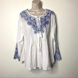 Vineyard Vines white blouse blue embroidery XL B7